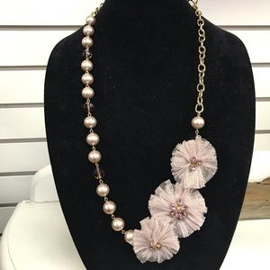 Jewelry - Blush Pearl & Rhinestone with Mesh Flower Necklace